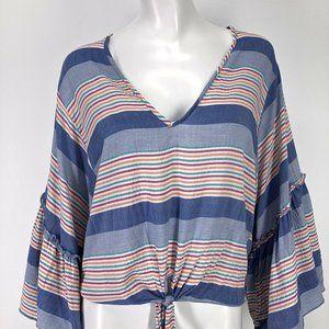 Lavender Field Striped Shirt Large Wide Flare Slv